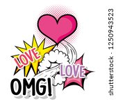heart love with omg patch...   Shutterstock .eps vector #1250943523