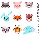 set of vector animals in... | Shutterstock .eps vector #1250945143