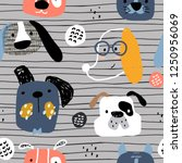 childish seamless pattern with... | Shutterstock .eps vector #1250956069