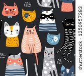 seamless pattern with cute... | Shutterstock .eps vector #1250957383