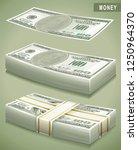 100 bucks. money stack....   Shutterstock .eps vector #1250964370