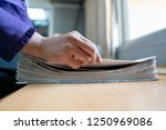 the hand of a woman holds... | Shutterstock . vector #1250969086