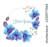 blue orchids watercolor wreath... | Shutterstock .eps vector #1250977063