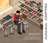 shoe maker during work on... | Shutterstock .eps vector #1250979403