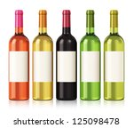 Set Of Color Wine Bottles With...
