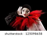 Mime Pierrot Actor Holding Her...
