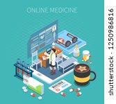 online medicine isometric... | Shutterstock .eps vector #1250986816