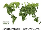 world map made up of green leaf ... | Shutterstock .eps vector #1250992696