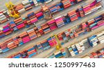 container ship in export and... | Shutterstock . vector #1250997463