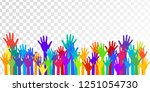 colorful raised hands group art ... | Shutterstock .eps vector #1251054730