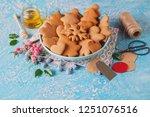homemade gingerbread cookies  ...   Shutterstock . vector #1251076516