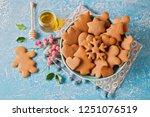 homemade gingerbread cookies  ...   Shutterstock . vector #1251076519