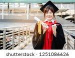 asian students wearing a... | Shutterstock . vector #1251086626