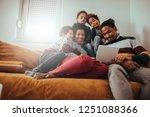 family taking selfie together... | Shutterstock . vector #1251088366
