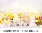 wooden digits whith pigs on the ... | Shutterstock . vector #1251108013