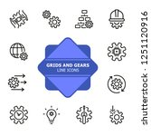 grids and gears line icons. set ... | Shutterstock .eps vector #1251120916