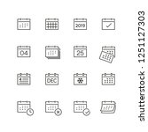 calendar related icons  thin... | Shutterstock .eps vector #1251127303