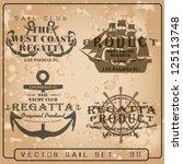 naval vector set sailor design... | Shutterstock .eps vector #125113748