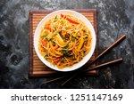 schezwan noodles or vegetable... | Shutterstock . vector #1251147169