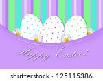 colorful easter card with three ... | Shutterstock . vector #125115386