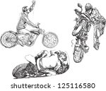 Bikers. /// Hand drawings converted into vector. Each biker is separated in a separate layer.