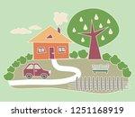vector illustration on a green... | Shutterstock .eps vector #1251168919