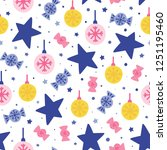seamless christmas pattern.... | Shutterstock .eps vector #1251195460