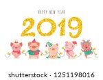 happy new year 2019 greeting... | Shutterstock .eps vector #1251198016
