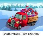 christmas truck. red car... | Shutterstock .eps vector #1251200989