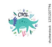 cute dinosaur color flat hand... | Shutterstock .eps vector #1251207796