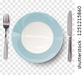empty plate in blue design with ... | Shutterstock .eps vector #1251215860