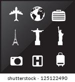 Travel Icons Over Black...