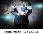 business man holding social... | Shutterstock . vector #125127668