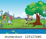 illustration of kids and a water | Shutterstock .eps vector #125127680