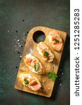 antipasti snacks for wine.... | Shutterstock . vector #1251285283
