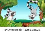 illustration of wild lemurs in... | Shutterstock .eps vector #125128628