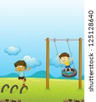 illustration of kids playing... | Shutterstock .eps vector #125128640