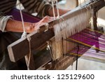 Close Up Of Old Woman Weaving...