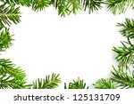 fir branches frame on white... | Shutterstock . vector #125131709
