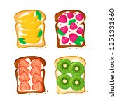 set sweet sandwiches toasts... | Shutterstock .eps vector #1251331660