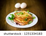 fried croutons in eggs with... | Shutterstock . vector #1251334183