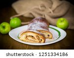 sweet homemade strudel with... | Shutterstock . vector #1251334186