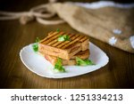 hot double sandwich with... | Shutterstock . vector #1251334213