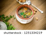 homemade vegetable soup with... | Shutterstock . vector #1251334219