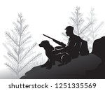 hunter with a dog sitting on a... | Shutterstock .eps vector #1251335569