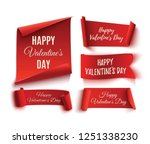 set of five red  happy... | Shutterstock .eps vector #1251338230