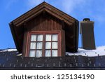 Detail from the wooden house in mountain - stock photo