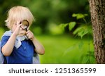 funny kid exploring nature with ... | Shutterstock . vector #1251365599
