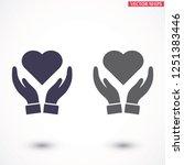 heart in hand icon vector | Shutterstock .eps vector #1251383446