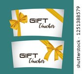 gift voucher card with ribbon... | Shutterstock .eps vector #1251388579